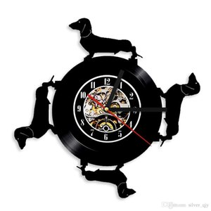 """Orologio da parete in vinile da record Home Decor 1Pezzo Orologio in vinile con bassotto Cane adorabile decorazione della parete di arte 12 """"Vinyl LP Record Wall Clock"""