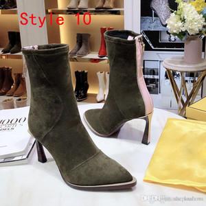 zapatos de boda de la manera del estiramiento de la novia botas de trabajo transpirable elástico delgado con botas de las mujeres delgadas talón de 8,5 cm en punta o tobillo de alta calidad