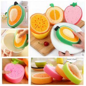 Forma de Fruta linda Cocina de Múltiples Funciones Esponja de Limpieza de Frutas de Doble Uso Limpiador de Lavar Plato Tazón de Esponja Suave DH0723 T03