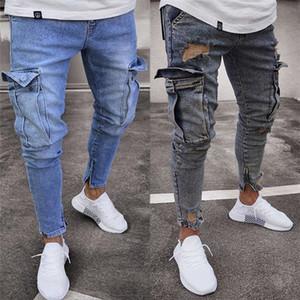 Pantalones para hombre del agujero de la cremallera de los pantalones vaqueros Slim Fit Con bolsillo estiramiento mediados de cintura lápiz masculinos vaqueros ocasionales