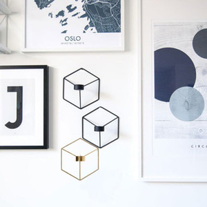 DIY Wall Mounted 3D Geometric Candlestick Tea Light Candle Holder Metal Candlestick Home Decor NEW