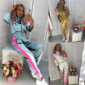 Femmes Sport Designer 2Pcs Survêtements stand manches longues Col Mode Femme Vêtements de sport style Vêtements décontractés Vêtements