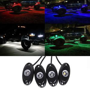 바디 트레일 조작 등 SUV ATV 보트에서 4 개 9W LED 락 빛 홍수 빨강 파랑 녹색 WHITE LED 조명 12V 24V 4 × 4