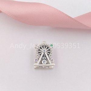 Otantik 925 Gümüş Boncuk Dönme Dolap Charm, Çok Renkli Kristal Charms Avrupa Pandora Stil Takı Bilezikler necklac uyar
