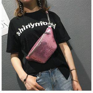 Paquete de la cintura unisex de las lentejuelas Fanny Bolsa de cintura pechera Festival de la chispa Bolsas cintura empaqueta punk bolsa de deporte al aire libre Packs Hombres bolsos crossbody