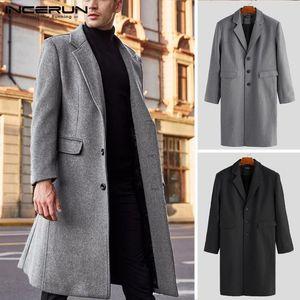 Mens Winter Coats Wool Jackets Solid Long Sleeve Faux Fleece Men Overcoats Streetwear Fashion Long Trench Coats