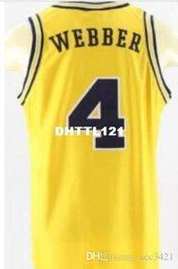 Hommes # 4 Michigan State Chris Webber Unsigned JAUNE broderie de haute qualité Maillots SZ S-XXXL ou sur mesure tout nom ou le numéro maillot de basket-ball