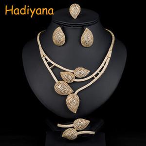 Hadiyana Hotsale Africano 4 pz Set Da Sposa New Fashion Dubai Set di Gioielli Per Le Donne Wedding Party Accessories Design 1536W C19010301