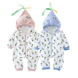 fashion Baby rompers long-sleeved cotton kids Boy Girl Clothing Children Clothing pineapple Set Body hooded Suits