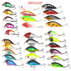 29pcs / Lot Pesca Lure Set Kit Artificial Wobblers Baixo Pike Trout Snakehead rígido Bait Treble Gancho Pesqueiro Minnow Crankbait Set Lure