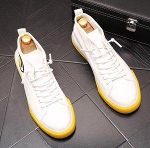 Weiß Herren High Top Schuhe Herren Schuhe Casual Schnürstiefeletten 2019 Mode Qualität Leder Stiefel Herren Board Schuhe Plateauschuh