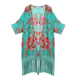 Femmes Beach Cover Up Ladies Protection solaire vêtements châle frangé vert Kimono Mousseline De Soie Beach Wear Shirt Boho Tunique Kimono