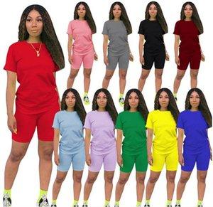 Más el tamaño de las mujeres del algodón cortocircuitos de verano chándal traje de dos piezas de manga corta traje llana sólida Sweatsuit de Deporte Ropa LY611
