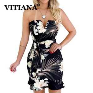 Vitiana mujeres sin tirantes sexy dress summer 2019 femenino elegante bohemio vaina imprimir vendaje mini vestidos con cinturón vestidos c19041101