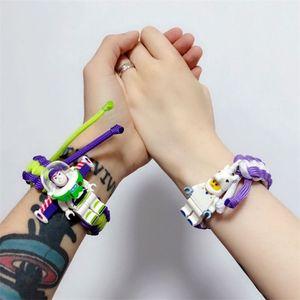 17 stili di carattere bracciali braccialetto edificio blocco tessere cartone animato tessute amano studenti scherza il regalo braccialetto a buon mercato all'ingrosso ZJY841