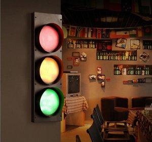 크리 에이 티브 바 연철 예술 서리로 덥은 LED 벽 빛 신호등 신호 벽 산업 레트로 장식 조명