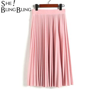 SheBlingBling Spring Autumn Fashion Women's High Waist Pleated Solid Color Half Length Elastic Skirt Promotions Lady Black Pink Y200704