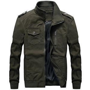 111% Cotton Men Jacket Washed Multi-pocket 2D Clothing Jaqueta Masculino Mens Spring Autumn Stand Collar Jackets 6XL
