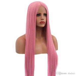 Pelucas del frente del cordón del pelo recto con la línea natural del cabello rosa Color de alta densidad de fibra sintética Temperatura lacefront peluca de las mujeres blancas