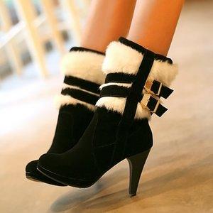 SARAIRIS Dropship Plus Size 48 Talons Hauts Buckles neige Bottes femme Chaussures Russie hiver chaud en peluche Bottes Femme Chaussures Femme