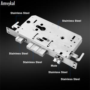 Amvykal Güvenlik Kapısı 304 Paslanmaz Çelik Lockbody Elektronik Hırsızlık Kapı Kilidi Vücut Genel Çift Canlı Parmak İzi Kapı Lockbody