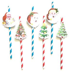 크리스마스 밀짚 산타 클로스 크리스마스 트리 크리스마스 장식 종이 카드 밀짚 뜨개질 소품 파티 3 개 / 대 DHL 선박 XD21067