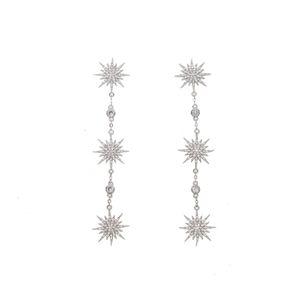 2019 Nuovo arrivato Dazzling Sparking stelle Northstar fascino starburst orecchini pendenti goccia cz gioielli da donna lungo orecchino