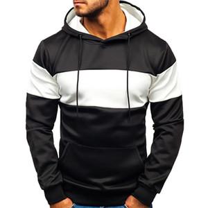 Mens New Sweatshirt Art und Weise beiläufige Patchwork Slim Fit Hoodie Outwear Bluse Druck Hip Hop Winter-Pullover Men Street Wear