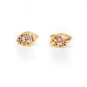 Say Hello Metal Copper Zircon Multi-color Rhombus Small Stud Earrings for Women Geometric Ear Studs Piercing Earrings Gift K4379
