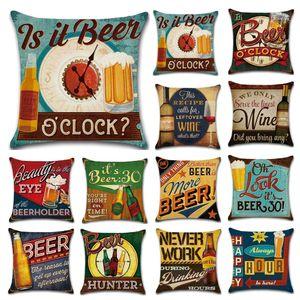 Estilo britânico Retro garrafa De Cerveja Travesseiros Case Carta rural impressão Fronha 45 * 45 cm Sofá Nap Coxim Capas de Decoração Para Casa 24 estilos C6103