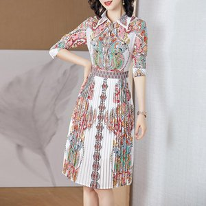 2020 fashion new summer women's skirts fat girls chiffon trend print mid-length dress