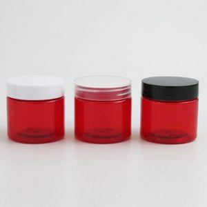 30шт 2 Оз Круглый герметичным Красный пластиковый контейнер баночки с крышками 60g для макияжа Путешествия хранения Косметическое молочко Скрабы Крем DHL свободный