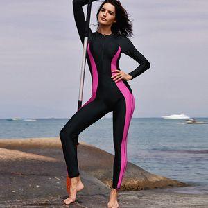 Women One Piece Swimsuit Wetsuit Long Sleeves Zipper Front Bathing Swimwear