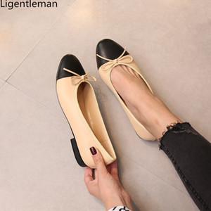 Único sapatos Mulher de duas cores emenda Bow Laço clássico Ballet Shoes Shallow de Cabeça Redonda Tamanho Grande Shoes salto baixo mulheres Bomba Y200113