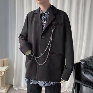 Корейский платье куртка Мужская мода Solid Color Business Casual цепи вскользь куртка Мужчины Streetwear Wild Сыпучие костюма Mens