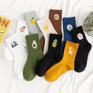 ماركة Aprilgras Designer Unisex Funny Fruit Women Socks Harajuku Colourful Mid Socks Women 100 Cotton 1 Pair Kawaii Size 35-42