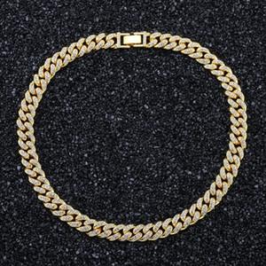 Hommes de l'or Glacé Miami Cubain Lien Chaînes Hip Hop Bijoux bling strass de haute qualité 18inch 20inch 24inch Chaîne en or finition argent