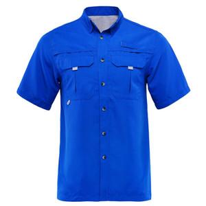 2019 лето мужчины Рыбалка рубашка открытый рубашка Рыбалка одежда человек пешие прогулки рубашки быстро высыхают UPF40 + UV плюс США размер M-XXL camisa