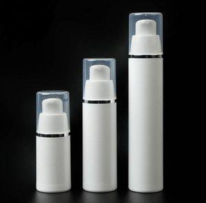 15ml 30ml 50ml PP Plastik Havasız Şişeler Beyaz Havasız Vakum Pompası Losyon Şişe ile Gümüş Hat SN2031