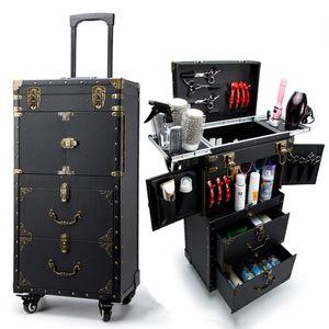 Makyaj sanatçısı Barber Rolling Toolbox, Tekerlekli Kozmetik Bavul Çanta, Çiviler Manicurist, Güzellik bölünme Kutusu