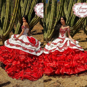 2020 épaules Ruffled Floral Charro Quinceanera Puffy Jupe broderie de dentelle Princesse Sweety 16s filles mascarade robe de bal