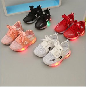 Children's light shoes baby toddler soft bottom breathable lace baby LED light luminous leisure sports sandals