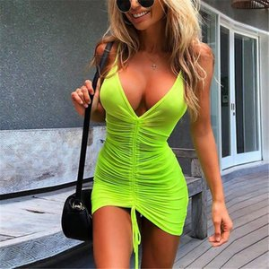 Donne Dress Mesh Fishnet di occultamento del bikini Swimwear costume da bagno Beach Dress costume da bagno Cover Up Lace up ladies Abiti