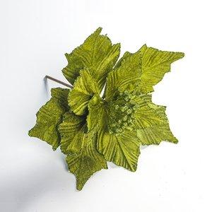 1 개 포 인 세 티아 장식 크리스마스 트리 인공 꽃 잎 홈 인테리어 DIY