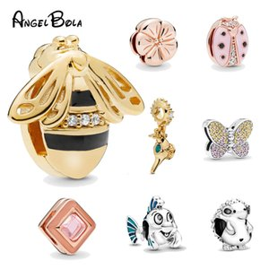 Butterfly Bee Fish Crystal Cute Women Fashion Pendant Charms Beads Bracelet Fashion Silver RoseGold Jewelry DIY-lover Gifts