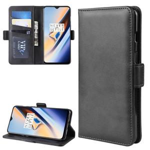 Para OnePlus 7 Duplo Buckle Crazy Horse Negócios Mobile Phone Holster com função de cartão da carteira Bracket