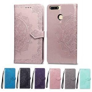 Funda de cuero de la PU de la cartera para Huawei Y6 Prime Case para Huawei Y6 Prime cubierta posterior de alta calidad ranura para tarjeta de cajas del teléfono