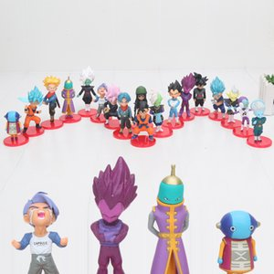 18pcs / lot de WCF Dragon Ball Z Vegeta Super Saiyan Goku Noir Zamasu goku rose action PVC Figure Collection Modèle Toy Y191105