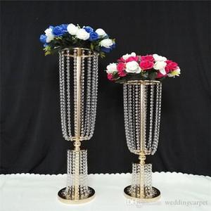Lusso alto acrilico cristallo Wedding Road puntelli di piombo centrotavola per matrimoni centrotavola per eventi decorazione per matrimoni navataio passerella vaso di fiori
