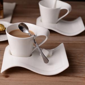Творческая волнистая керамическая фантазии кофейная чашка и блюдце набор европейской небольшой роскошный пар 200мла чашку кофе SH190928